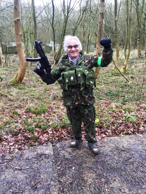 Stephen Woodcock at his second airsoft game.