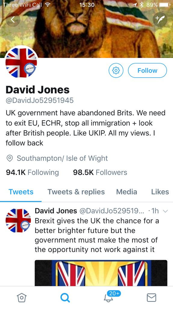 The anonymous Twitter account 'David Jones' identified by The Times as a Kremlin agent - but probably just a Northern Ireland UKIP creation