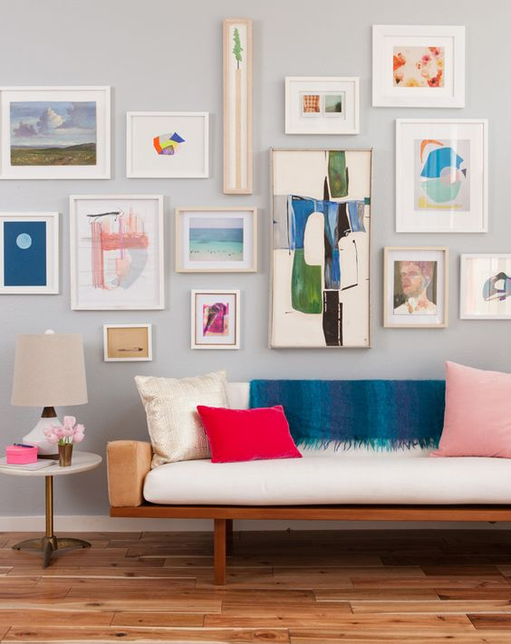 Emily Henderson   uses this gallery is an amazing way to change up a space using the spring color palette. (photography by:  Daniel Hennessy )