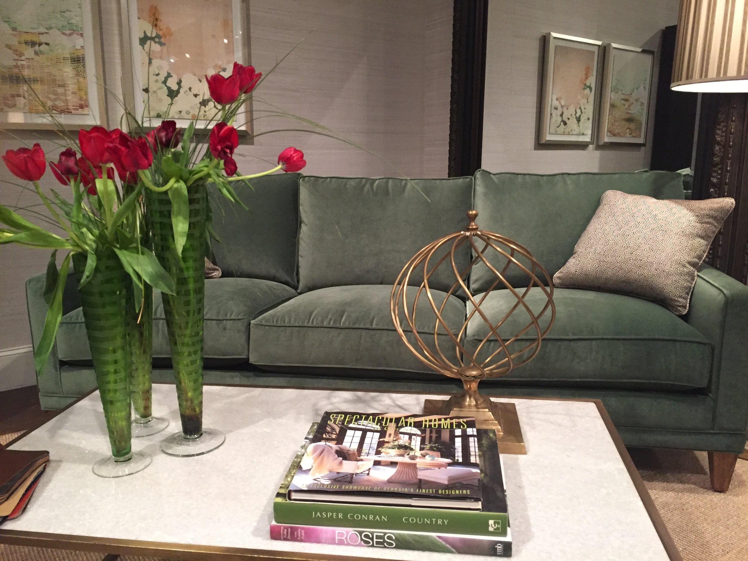 Love this sofa from Rowe! The green is delicious!