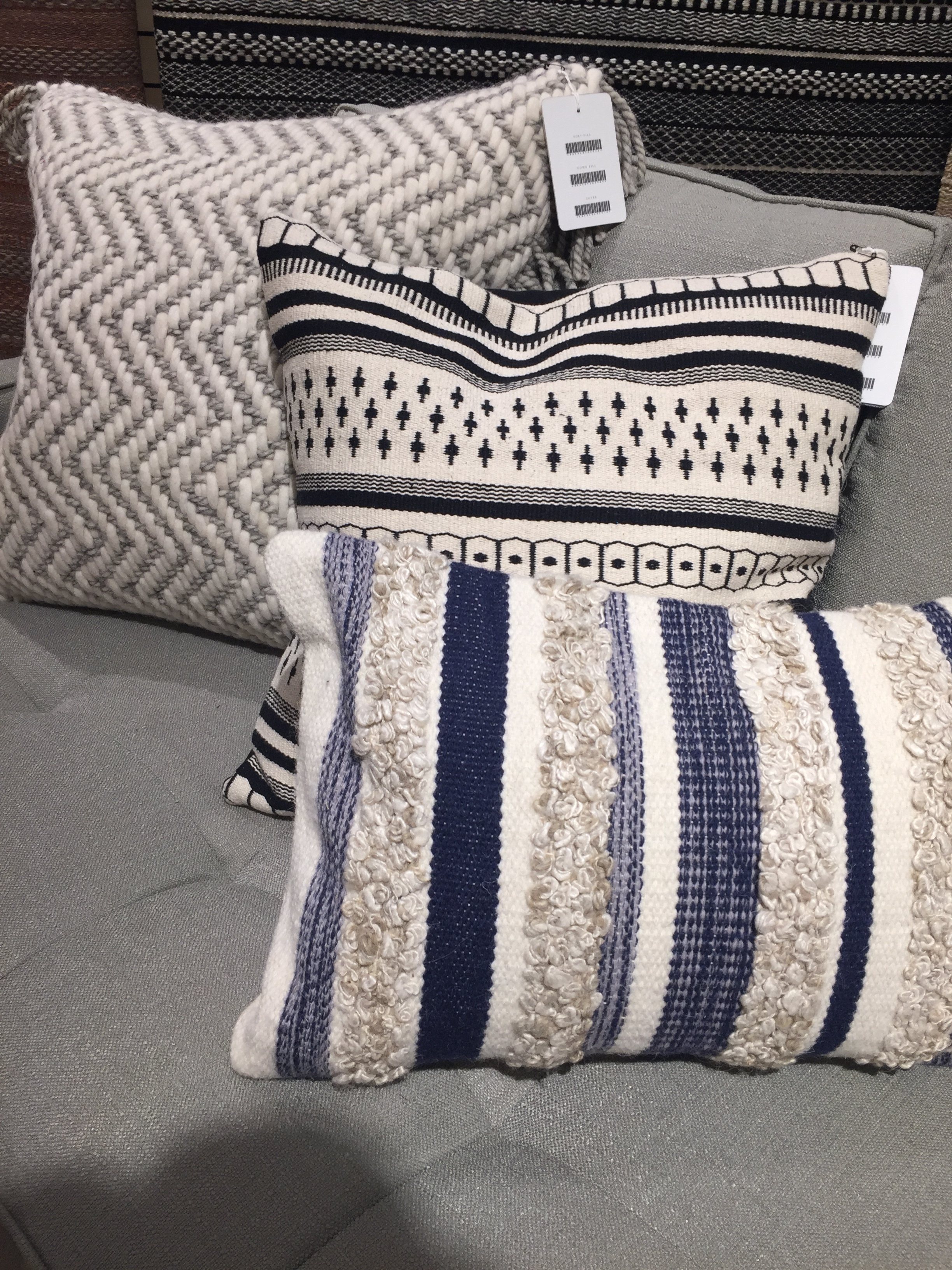 The throw pillows are from Loloi Rugs showroom. What a wonderful mix of color, pattern and texture