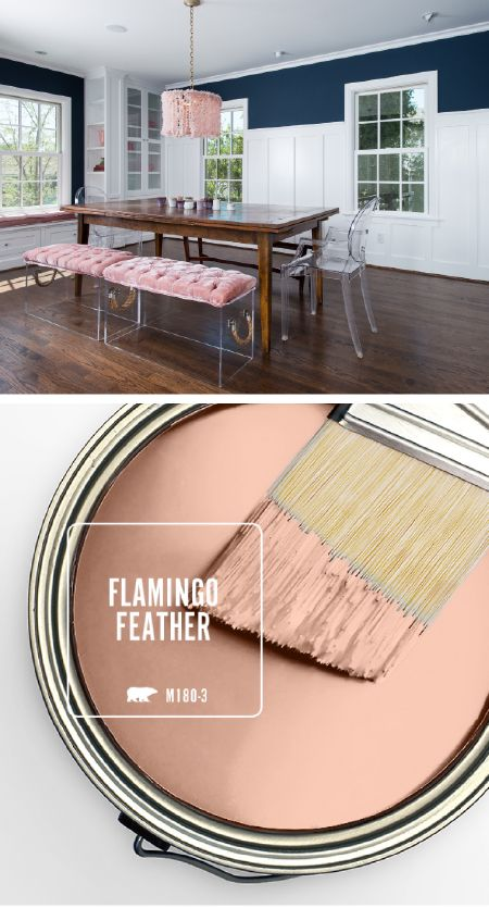 Try using this light blush shade as an accent color in contrasting color palettes, like navy and white.  Behr Paint