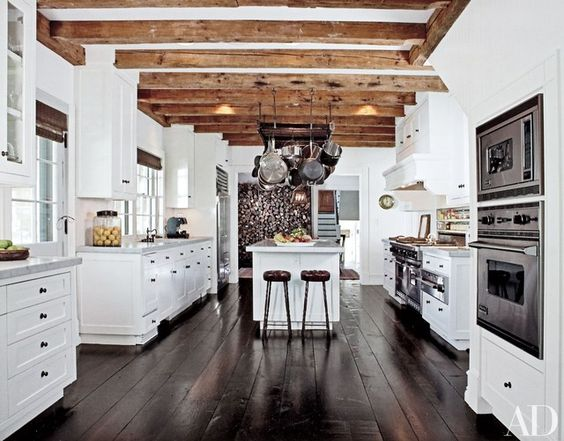 Amazing beams make a statement.  Architectural Digest