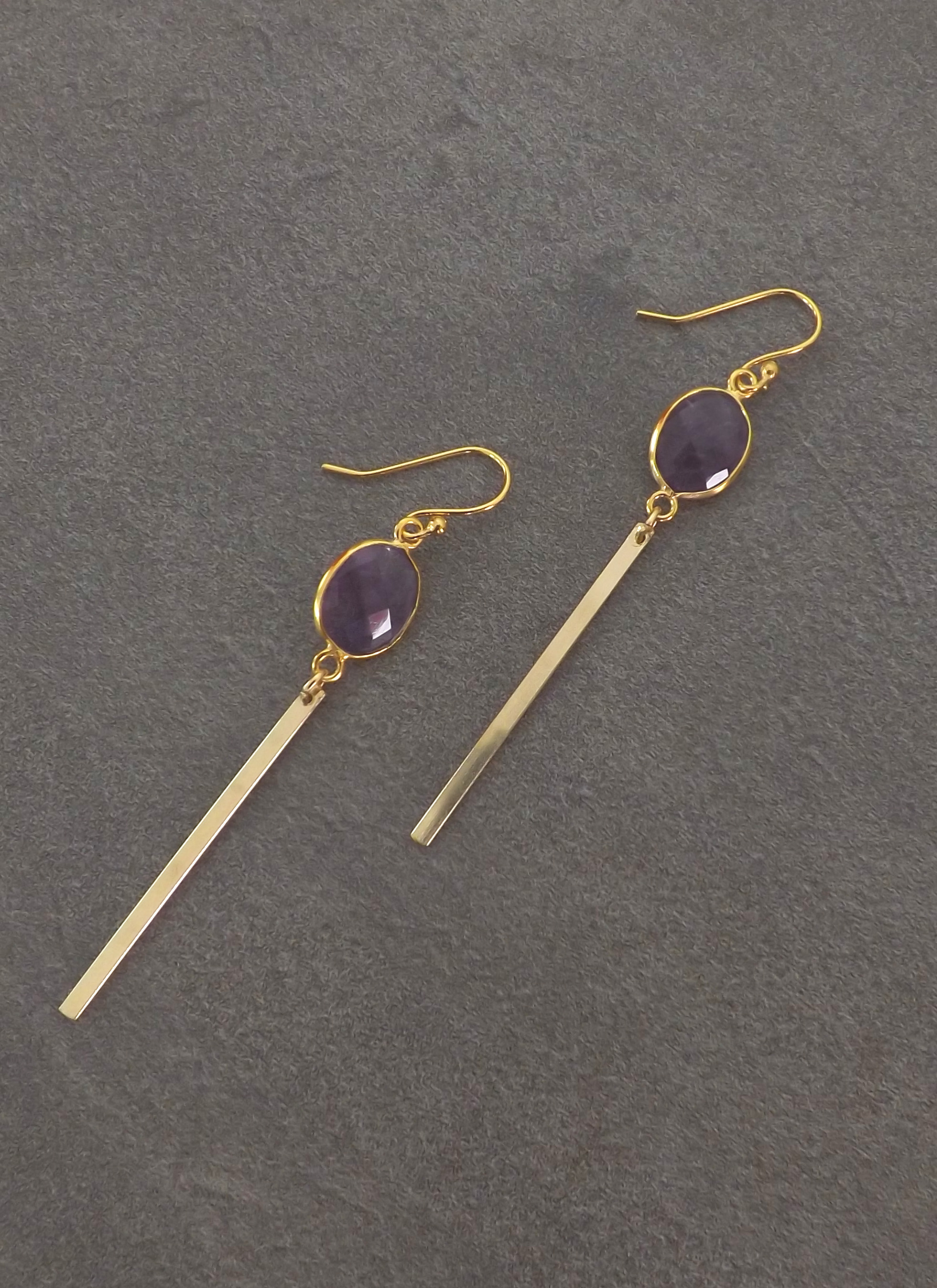 purple amethyst gold bar earrings