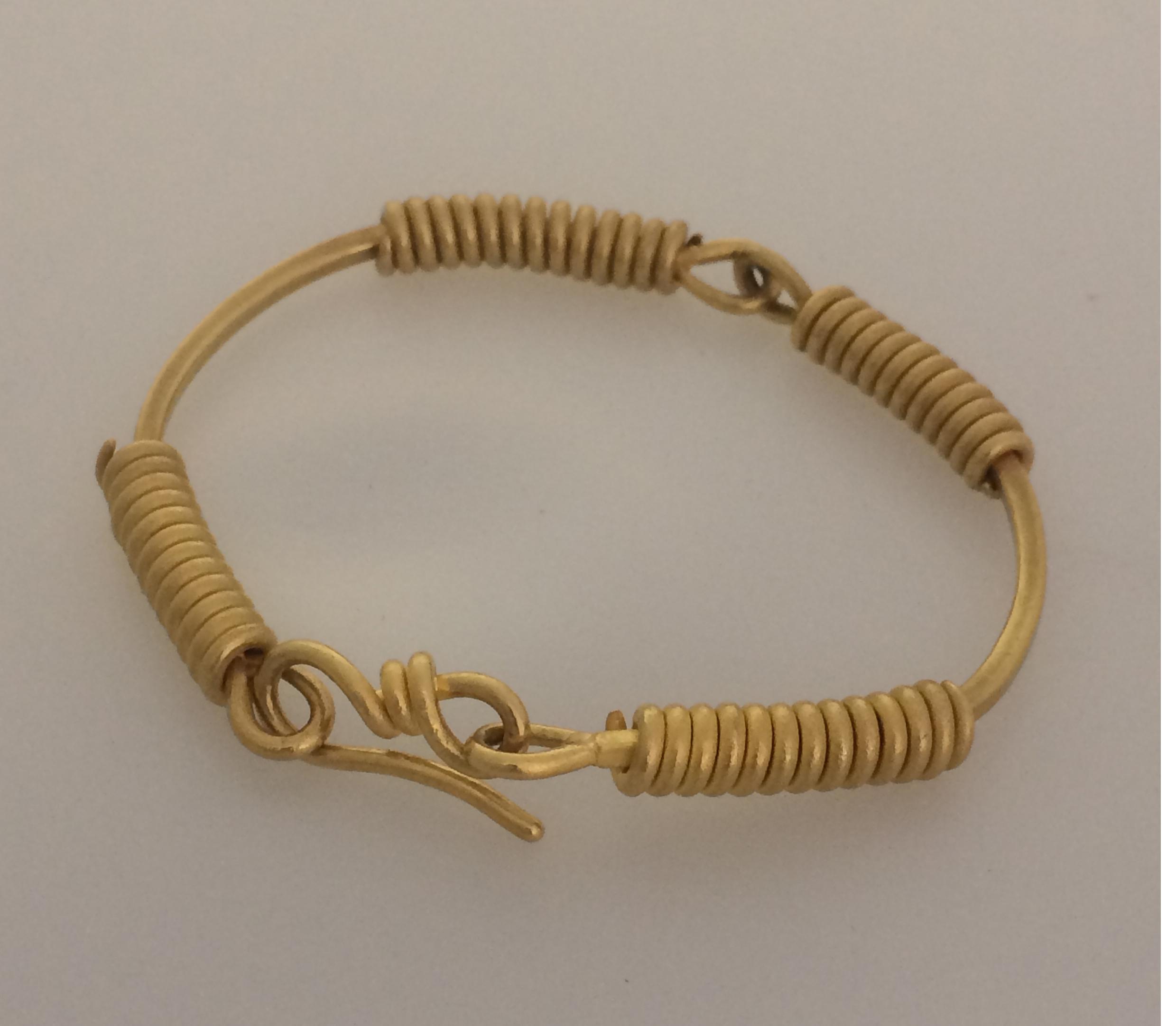 Advanced student's work. Ancient style spiraled wire bracelet in 22 karat gold.