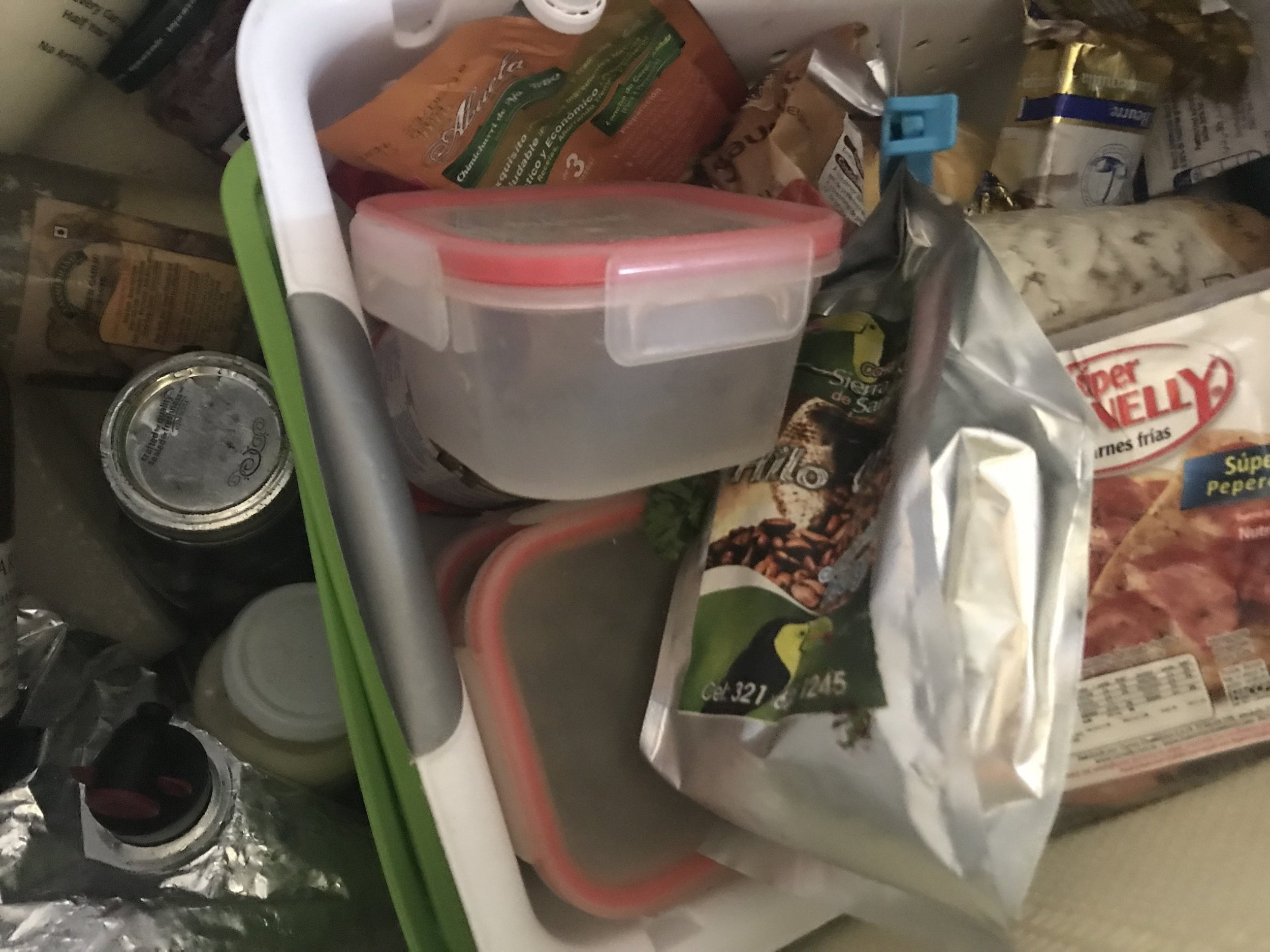 Essentially small laundry baskets (way small) within the fridge!