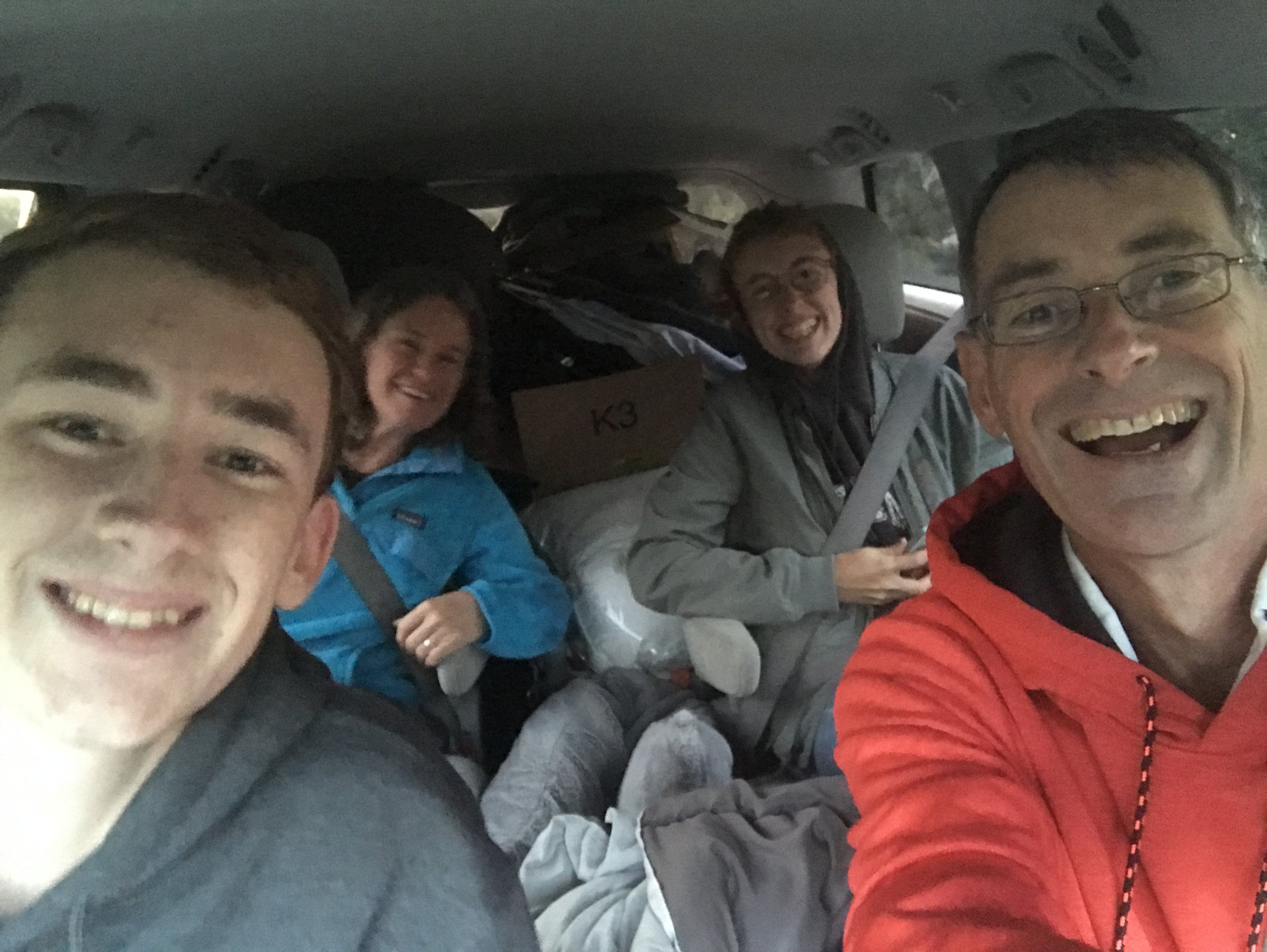 Family trip to take Julian to George Mason University. Note the FULL car!