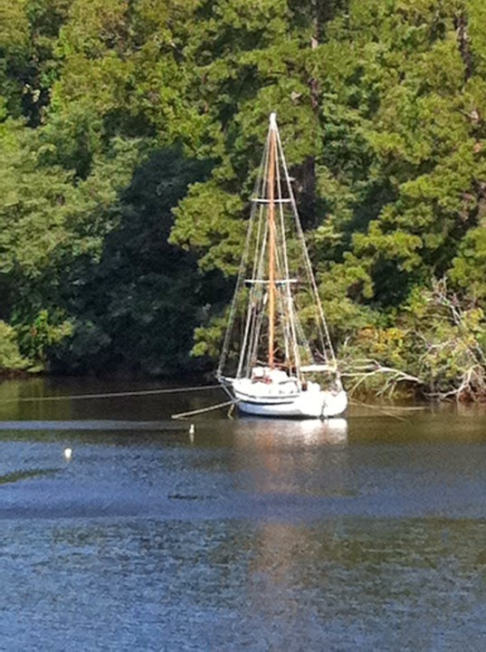 Calypso up a creek, prepped for a hurricane in 2011.