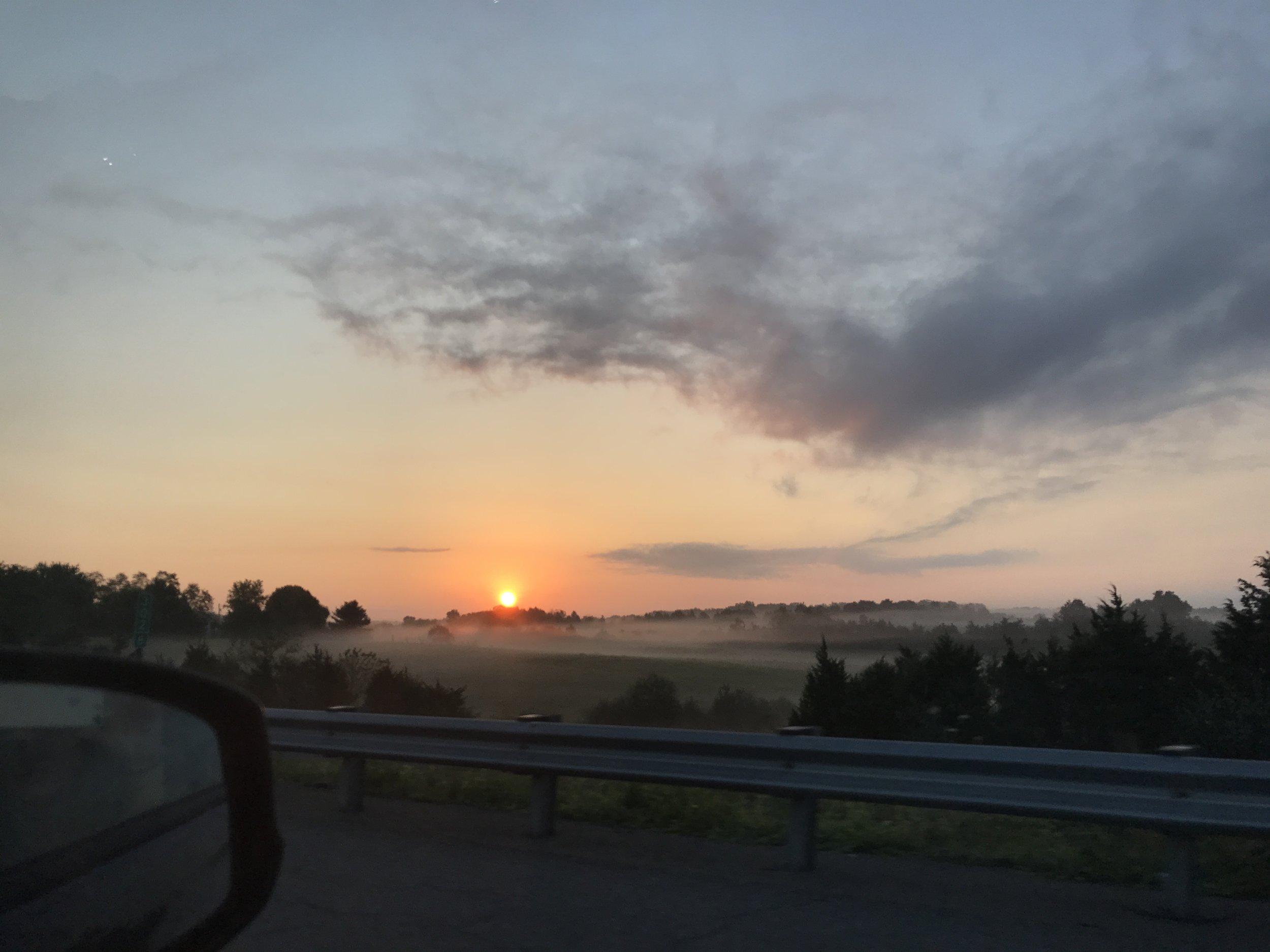 Sunrise on I-81. I woke up my passenger to take the picture!