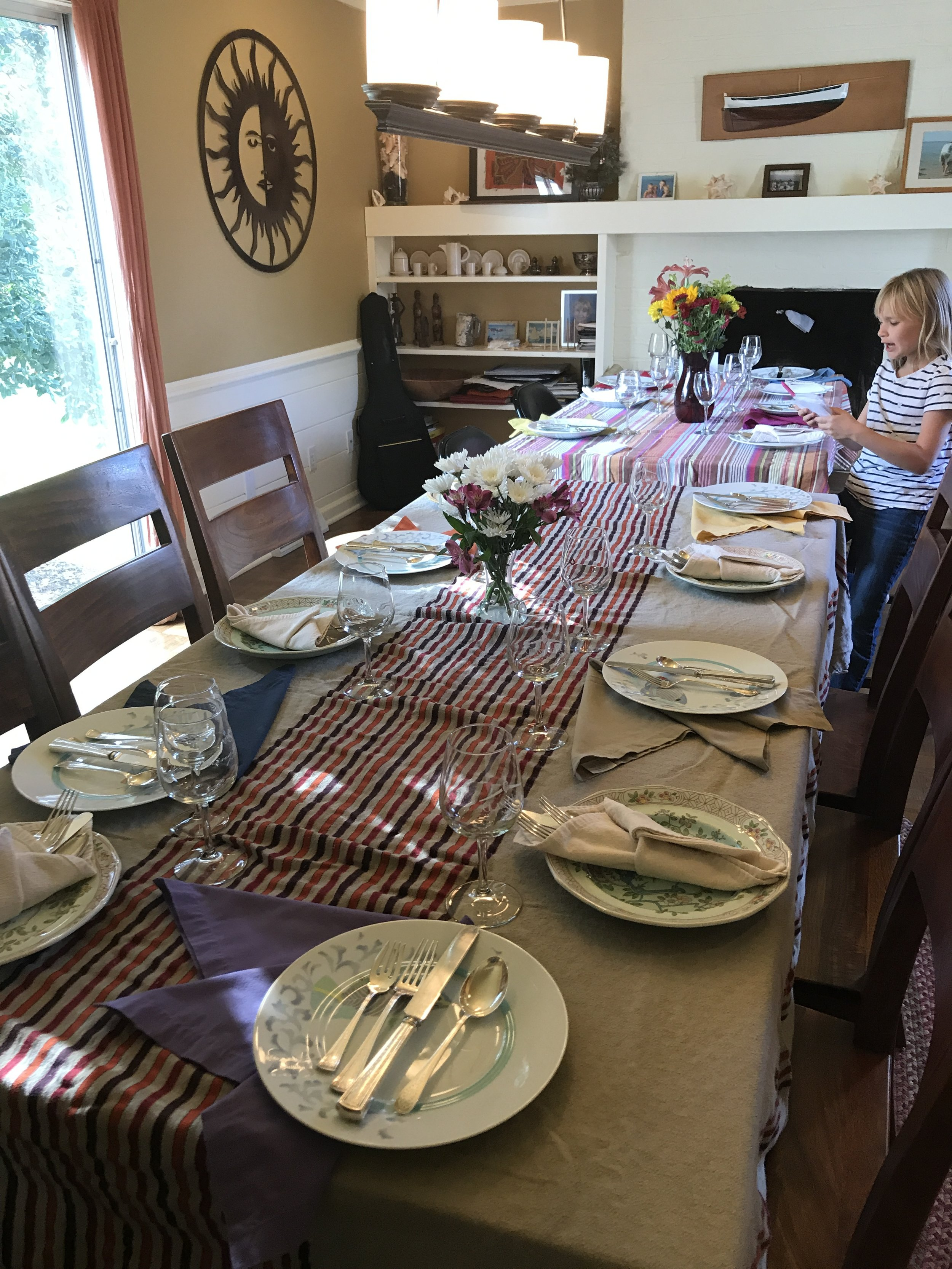 Thanksgiving! Tables set for 18!