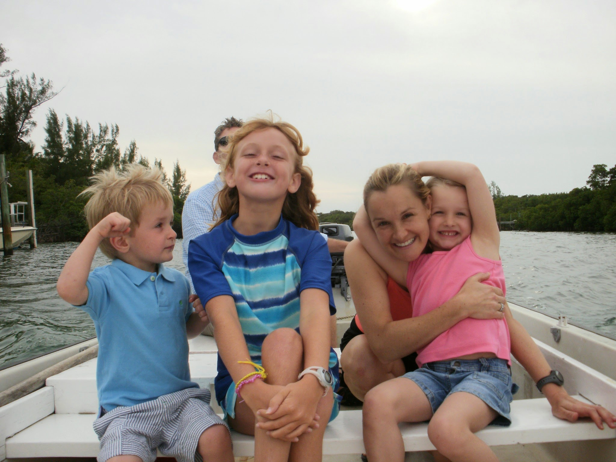 Just some of the crew in a dinghy ride, Hope Town harbor