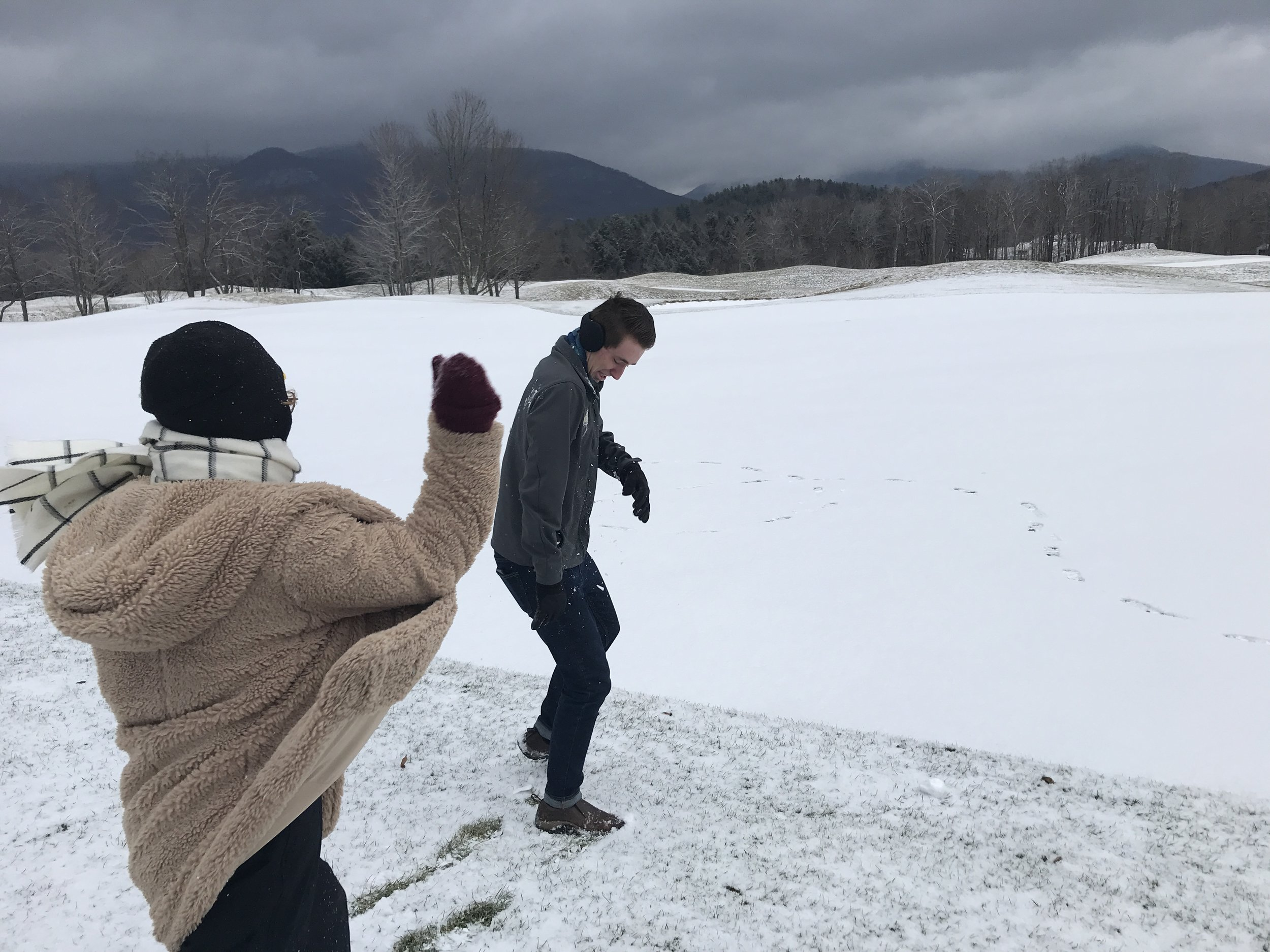 Sibling snowball fight. Ahhh.