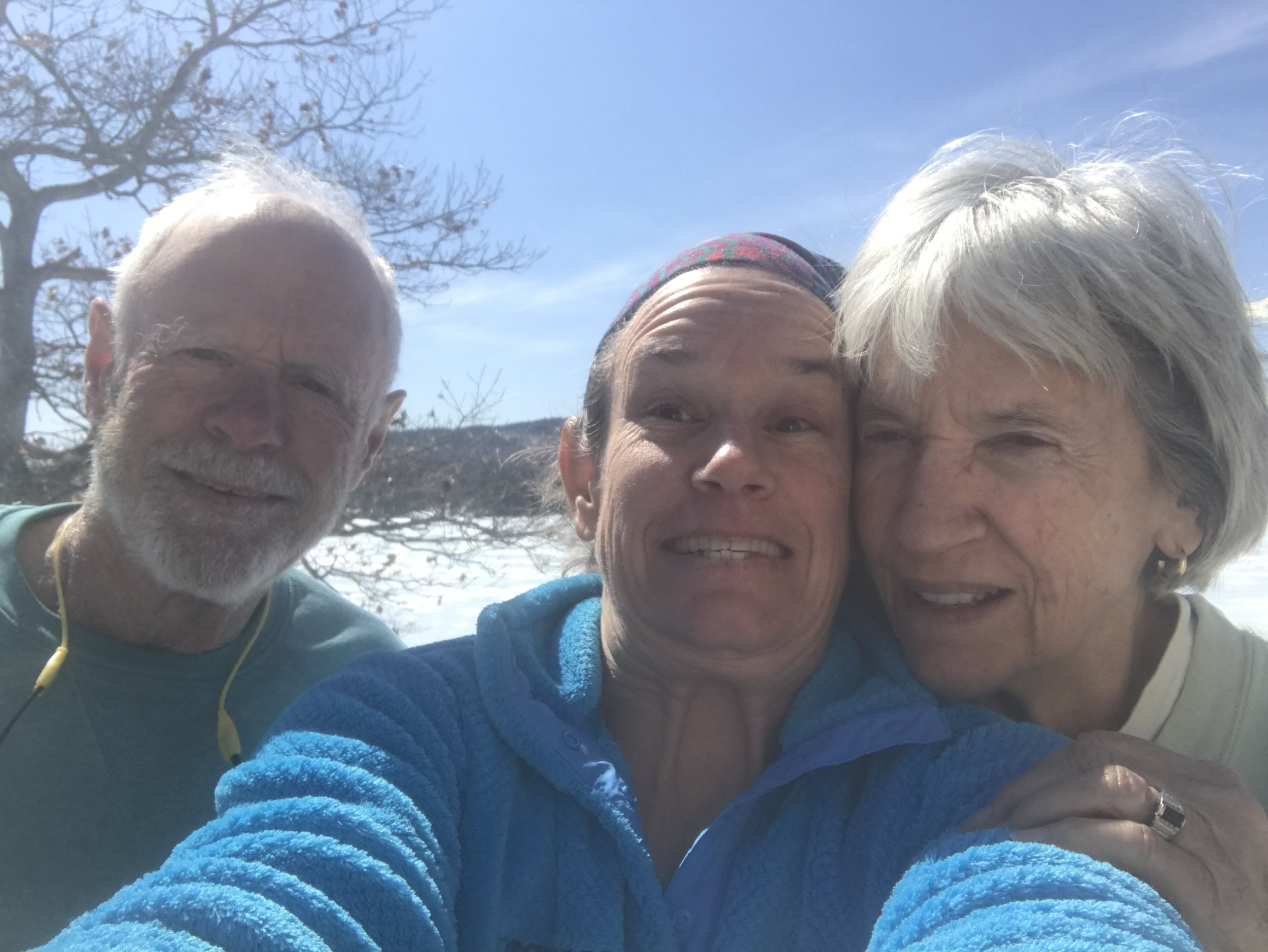 Mom and Dad and me on a work day, April 2019