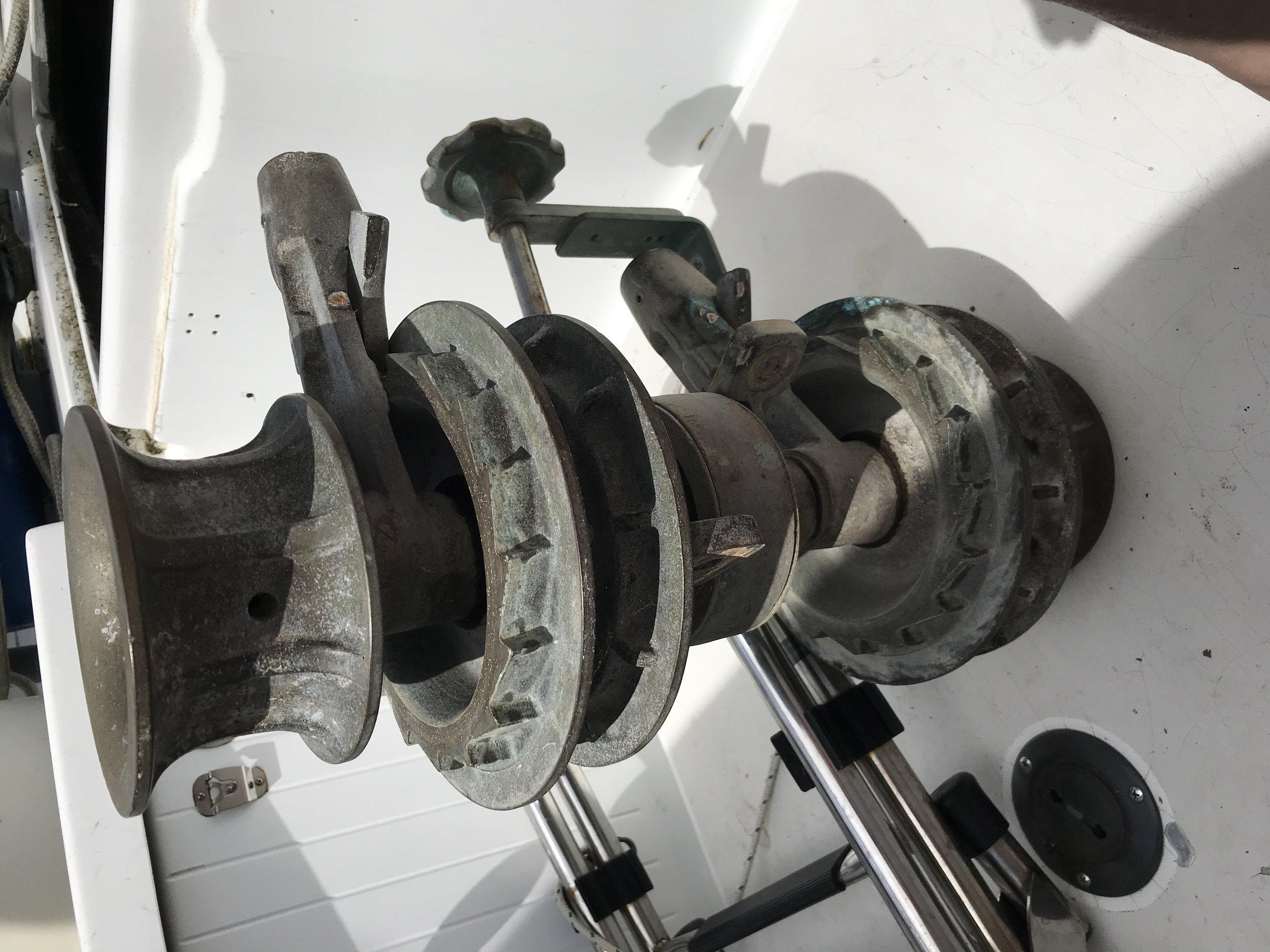 Trusty manual windlass.