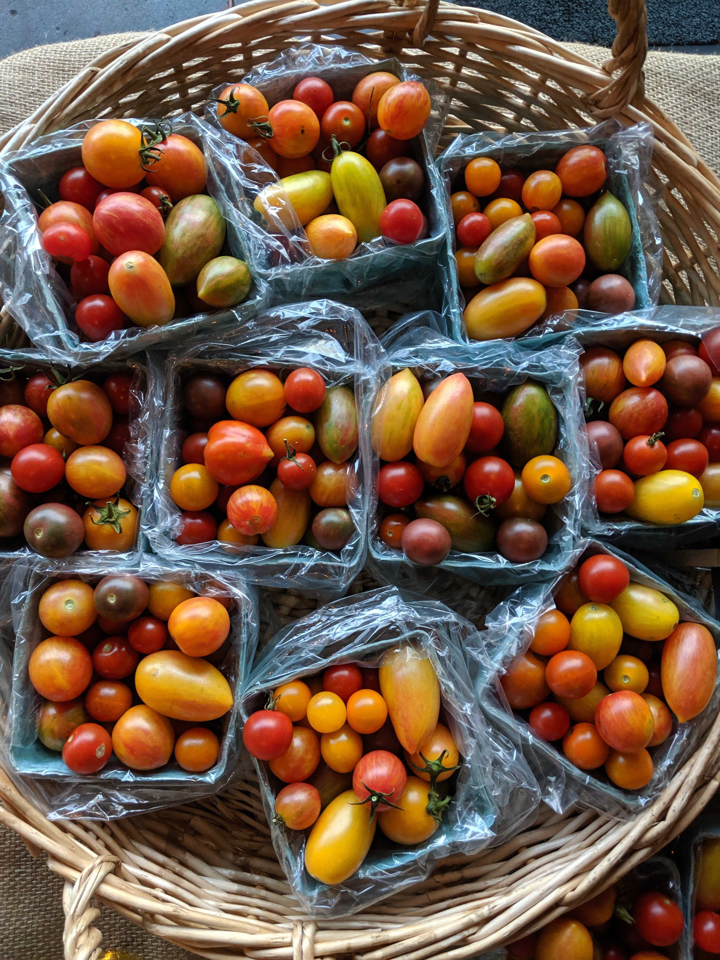 Market Shopping List - 2 large onion1 large red bell pepper3 garlic cloves5 ounces feta cheese6 large eggs3 heads garlic1 bell pepper1 hot pepper1 large cucumber2 lbs roma/plum tomatoes1 cup cherry tomatoes5 lbs heirloom tomatoes