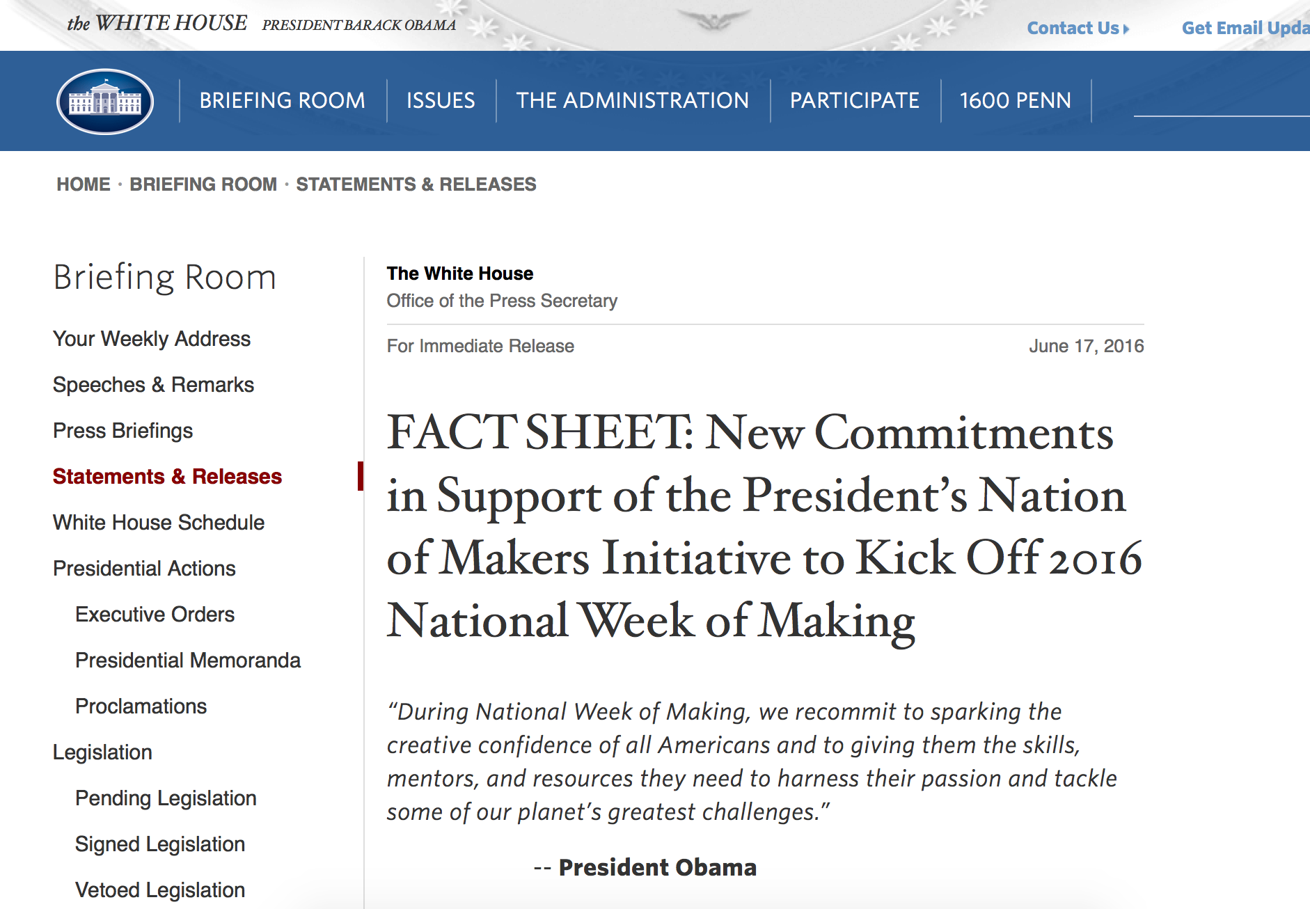 The launch of MakeItGo was featured in the White House fact sheet to launch the President's National Week of Making