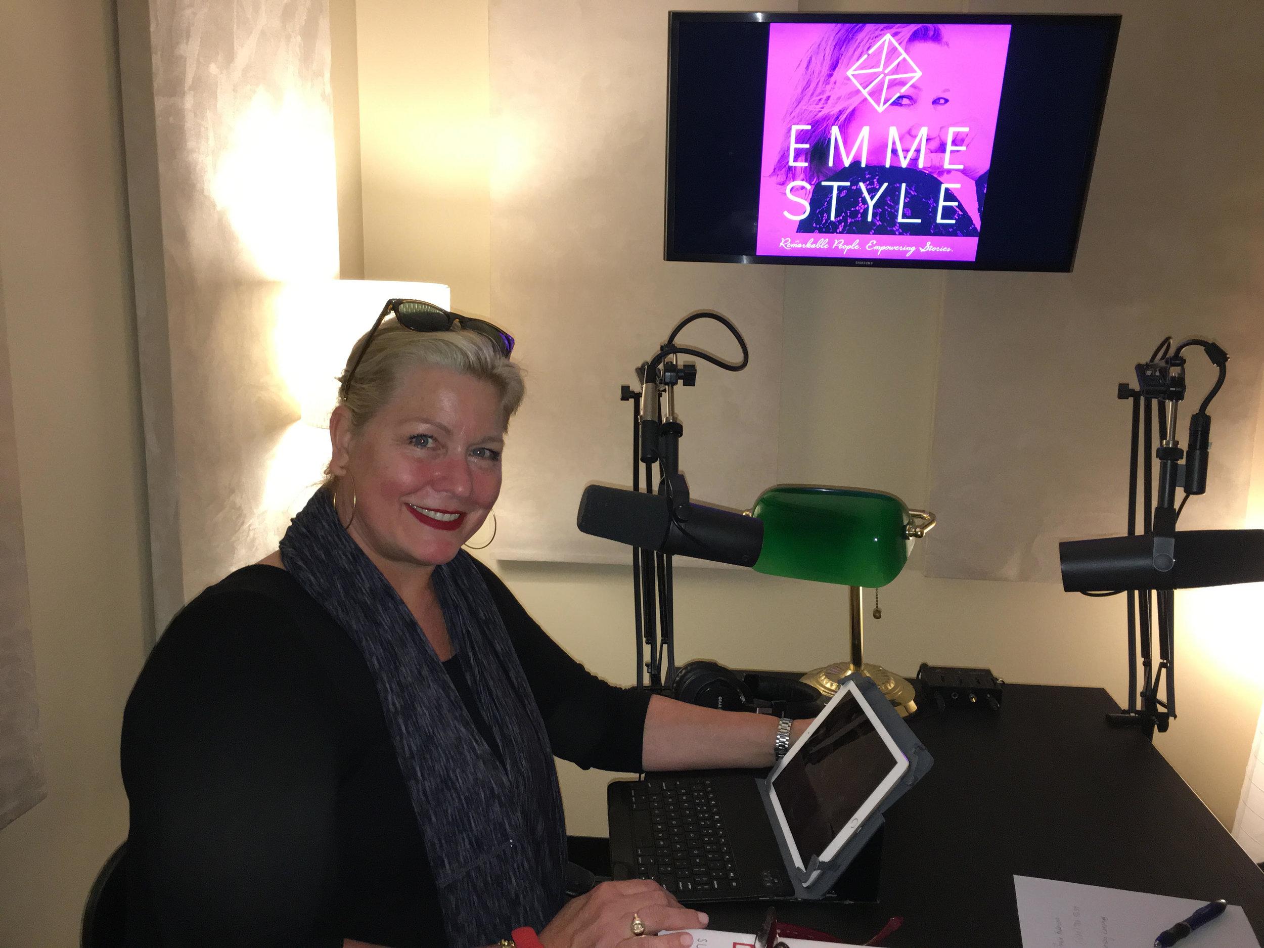Supermodel EMME Recording her EmmeStyle Podcast
