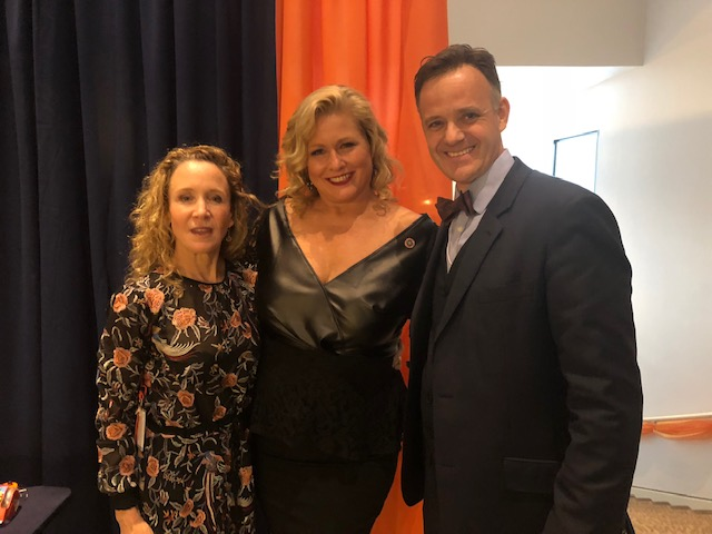 Arents Awards 2018, Trustee Lauren Cramer, Emme wearing Kerry Phelan's winning FWL dress and Dr. James Fathers