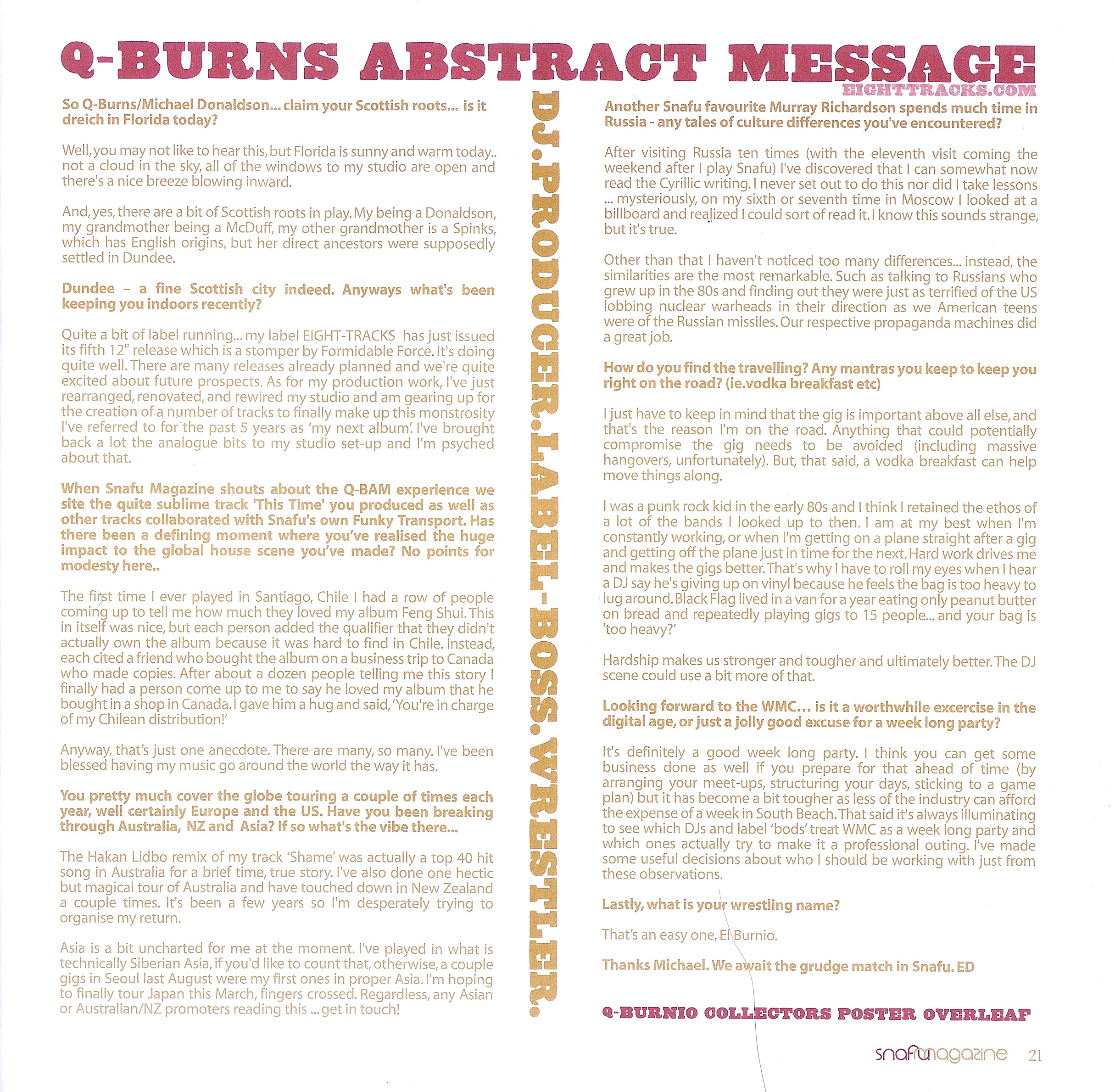 Q-Burns Abstract Message Snafu Magazine Interview Aberdeen Scotland