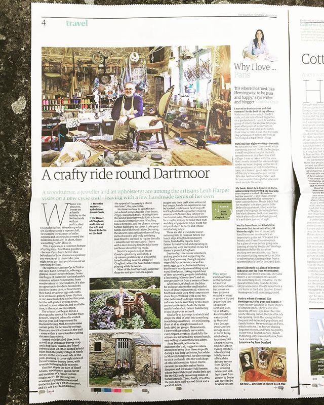 We're int' paper!! Lovely write-up about our cycle trail in Guardian Travel today. #guardian #travel #dartmoor #cyclingholidays #artisans