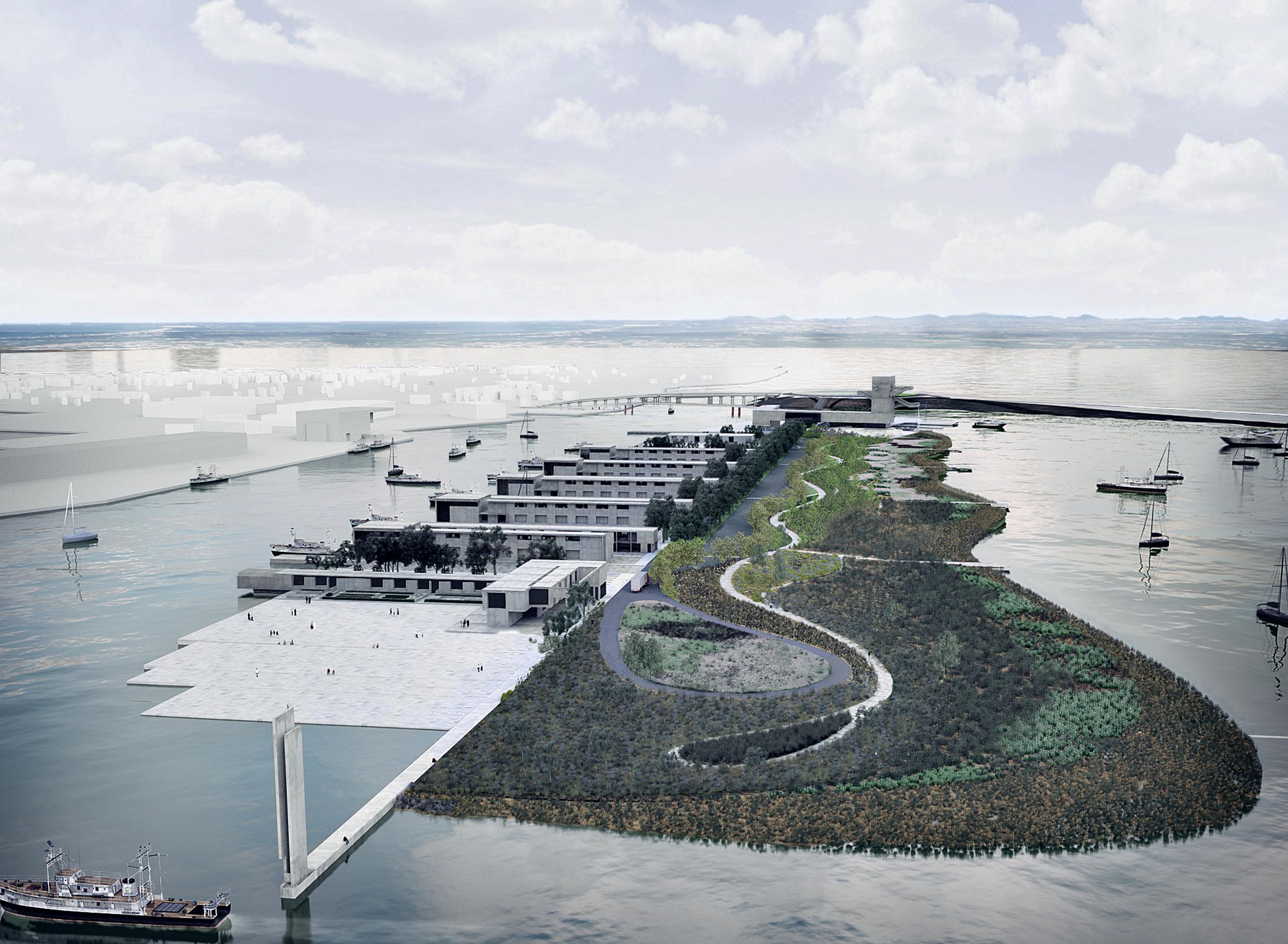 """Aleghero. La nuova isola con il nuovo faro, il parco e il la """"piazza d'acqua"""""""