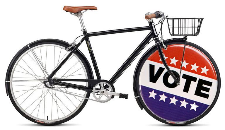 Bike the Vote - Tuesday, May 14 from 8 AM - 8 PM. Whatever candidates you support, be sure to get out and vote. When you do, post a picture of it (preferably with you bike) and tag us! If you don't have any elections today, bike to your polling place for practice and snap a selfie!