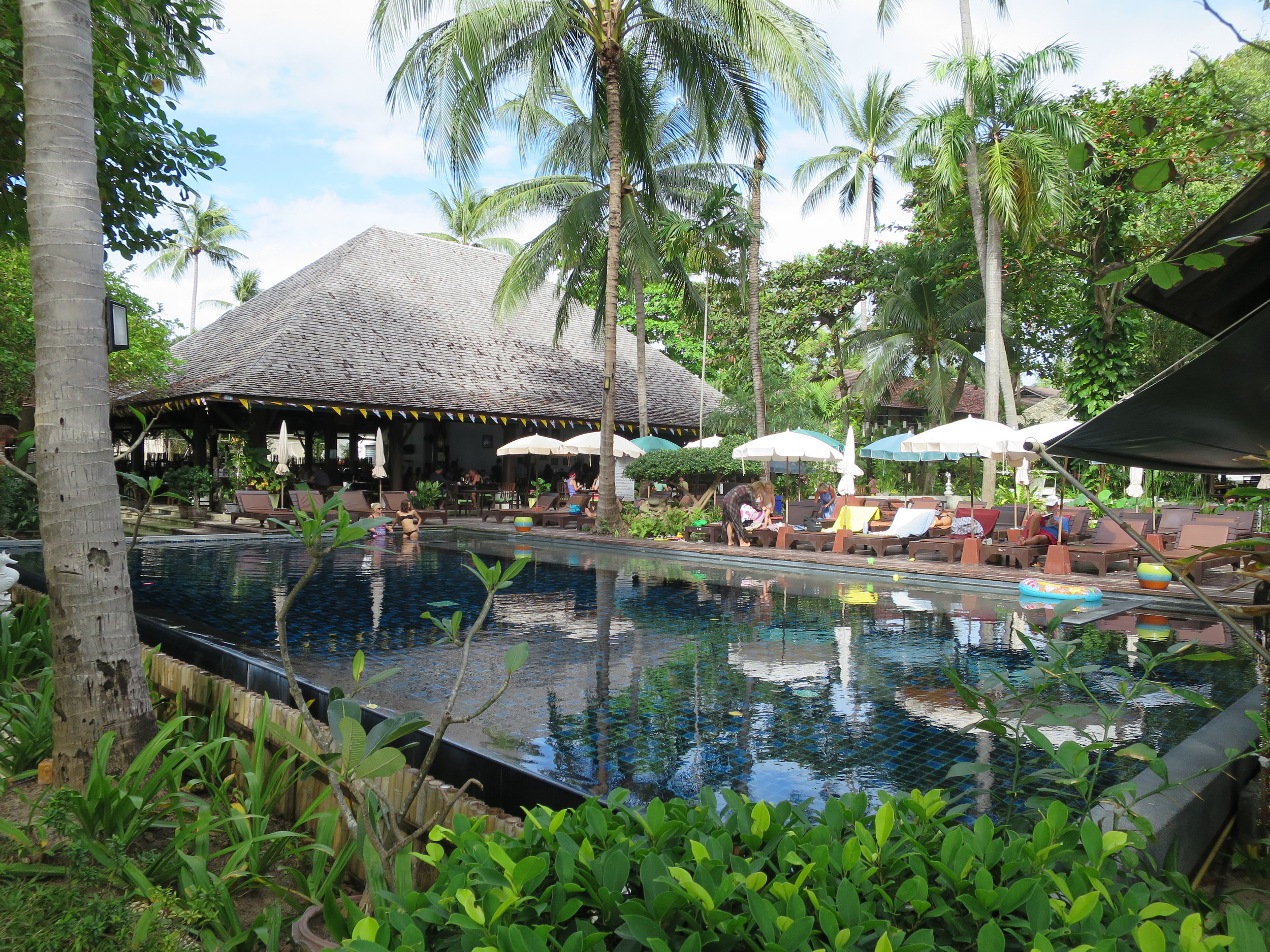 The hotel restaurant and pool