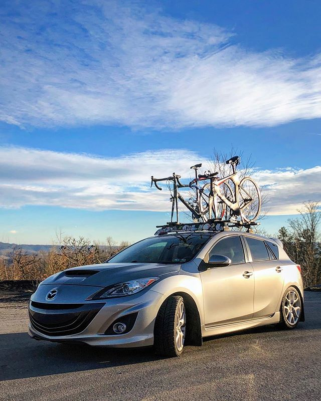 Quick shot of my ride all geared up on my way down to Boone, NC. A huge thanks to @chicagoautopros for the detail and tint job this week. #mazdaspeed3 #whip #tint #yakima #bike #zoomzoom #chicagoautopros