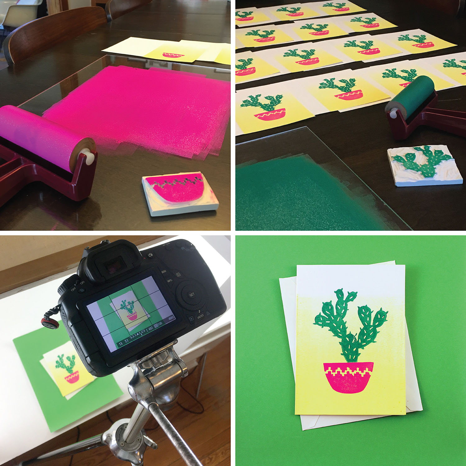 Cactus Block Printed Card