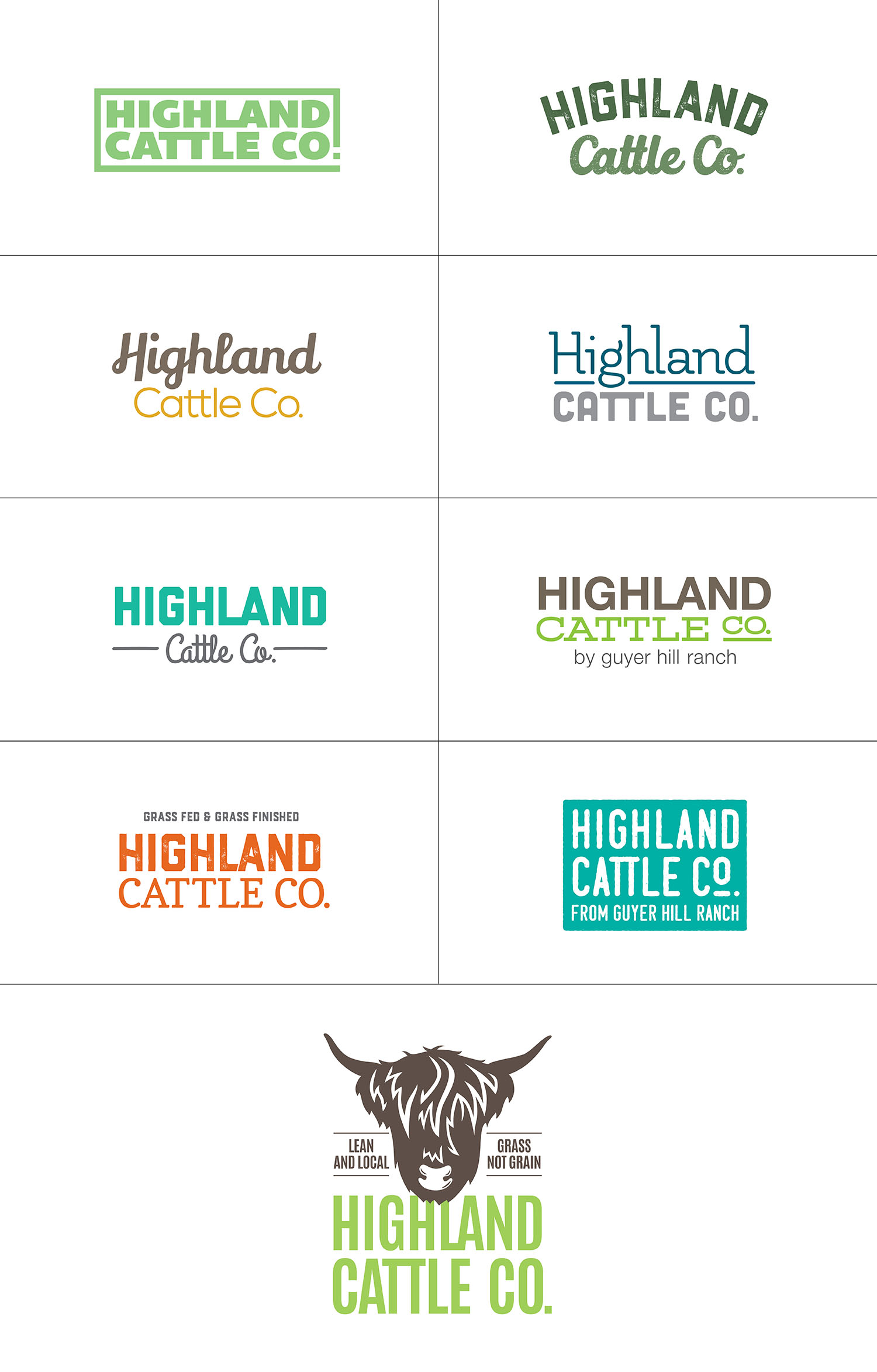 Highland Cattle Co. Logo Options