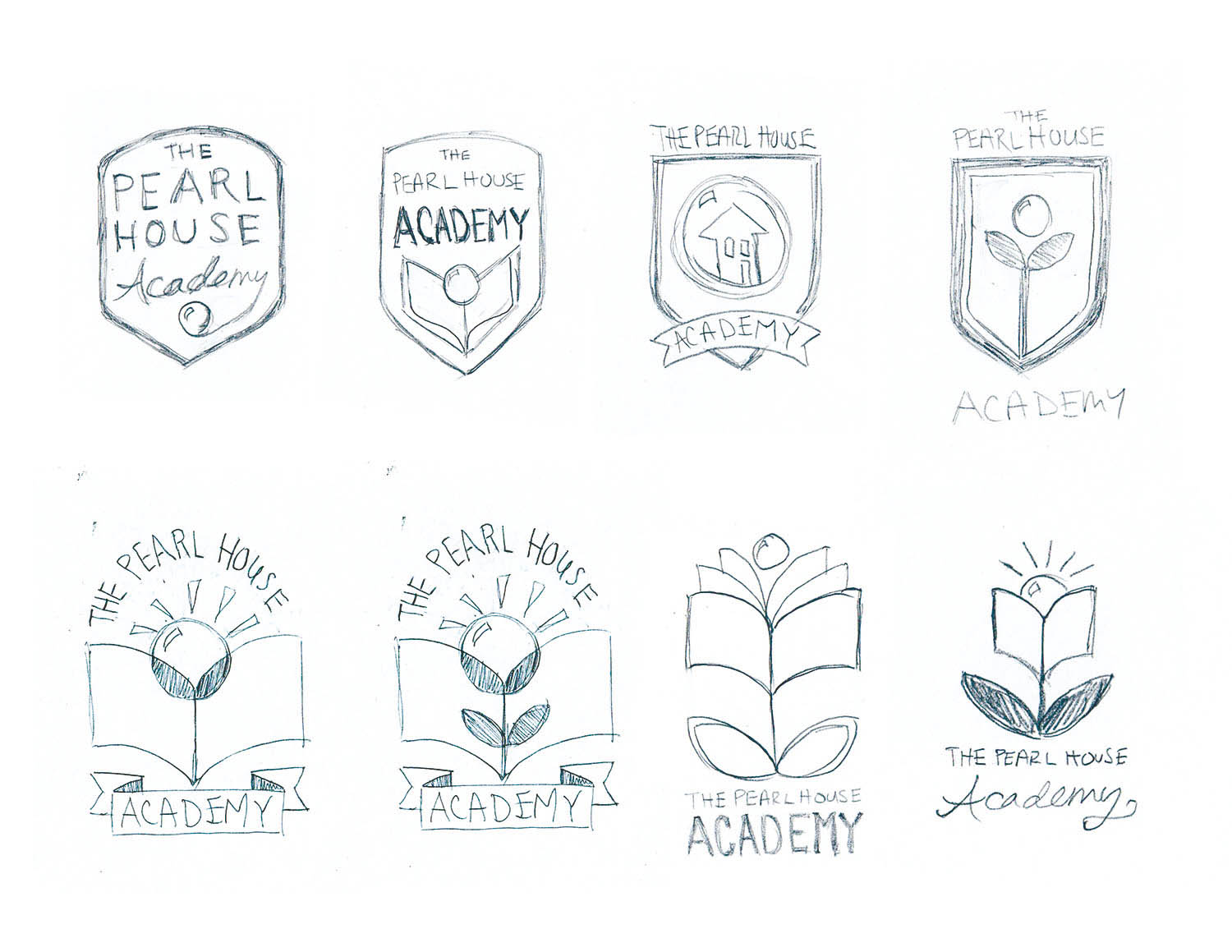 The Pearl House Academy Logo Sketches