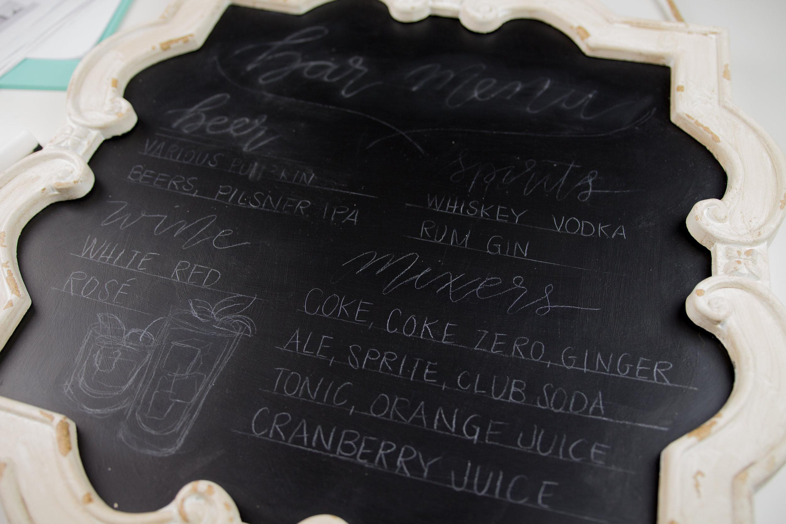 diy chalkboard bar menu for fall wedding