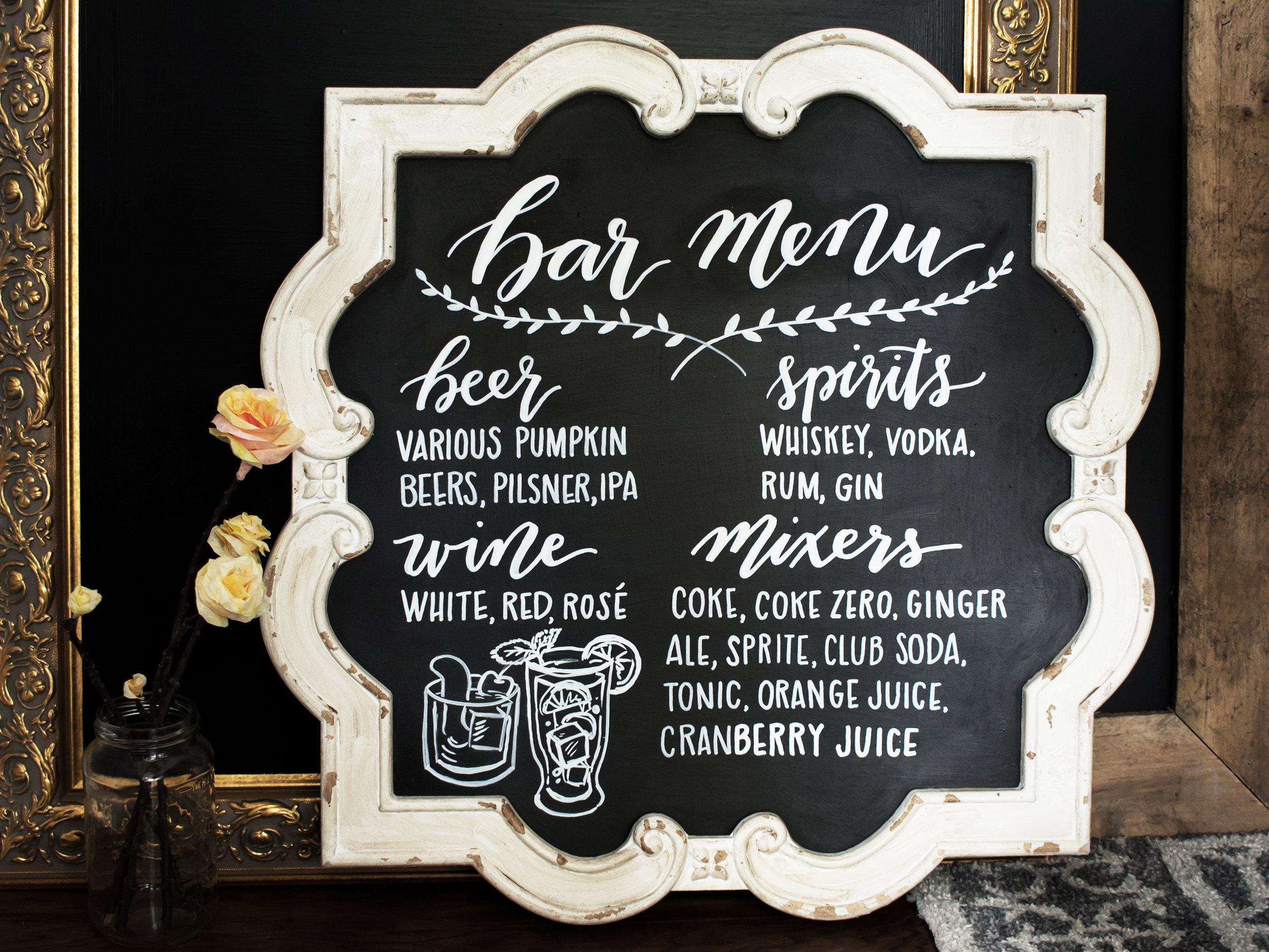 DIY chalkboard bar menu for a fall wedding