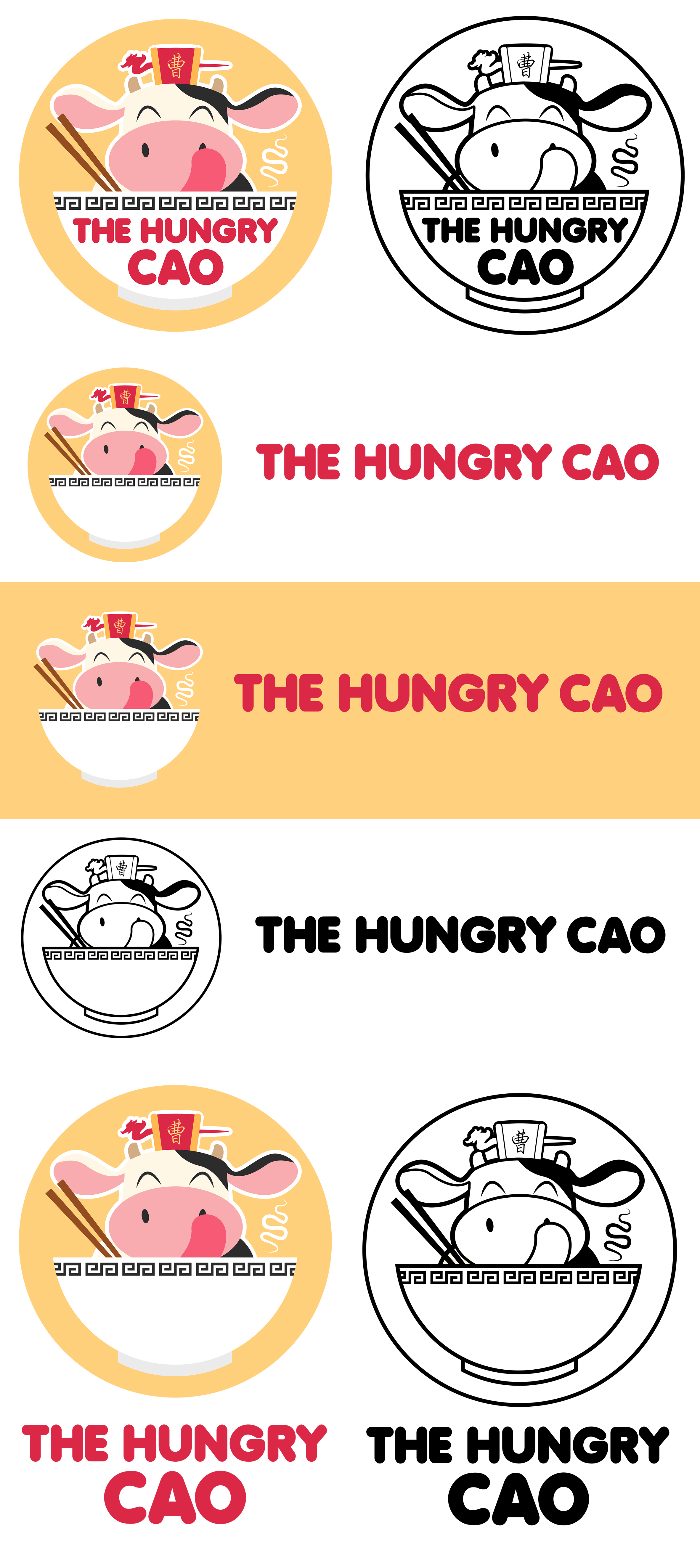From Sketch to Logo - Vector cow logo kawaii The Hungry Cao
