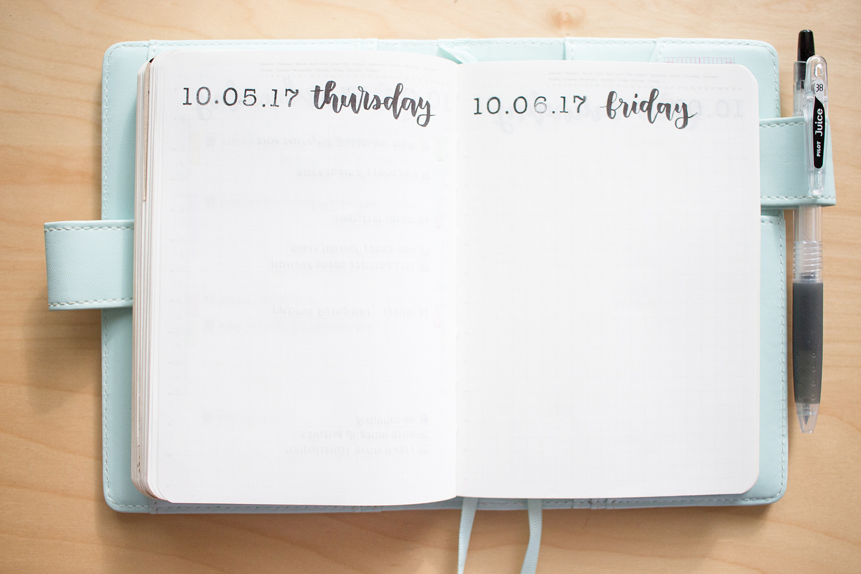 october 2017 bullet journal setup daily spread