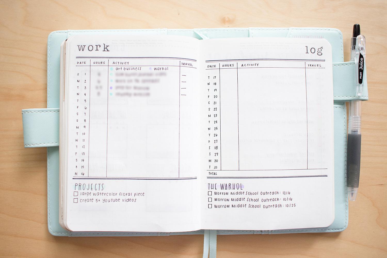 bullet journal spread october 2017 work log