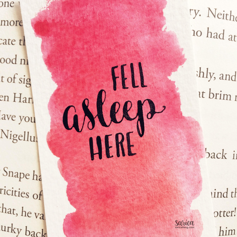 fell asleep here calligraphy bookmark