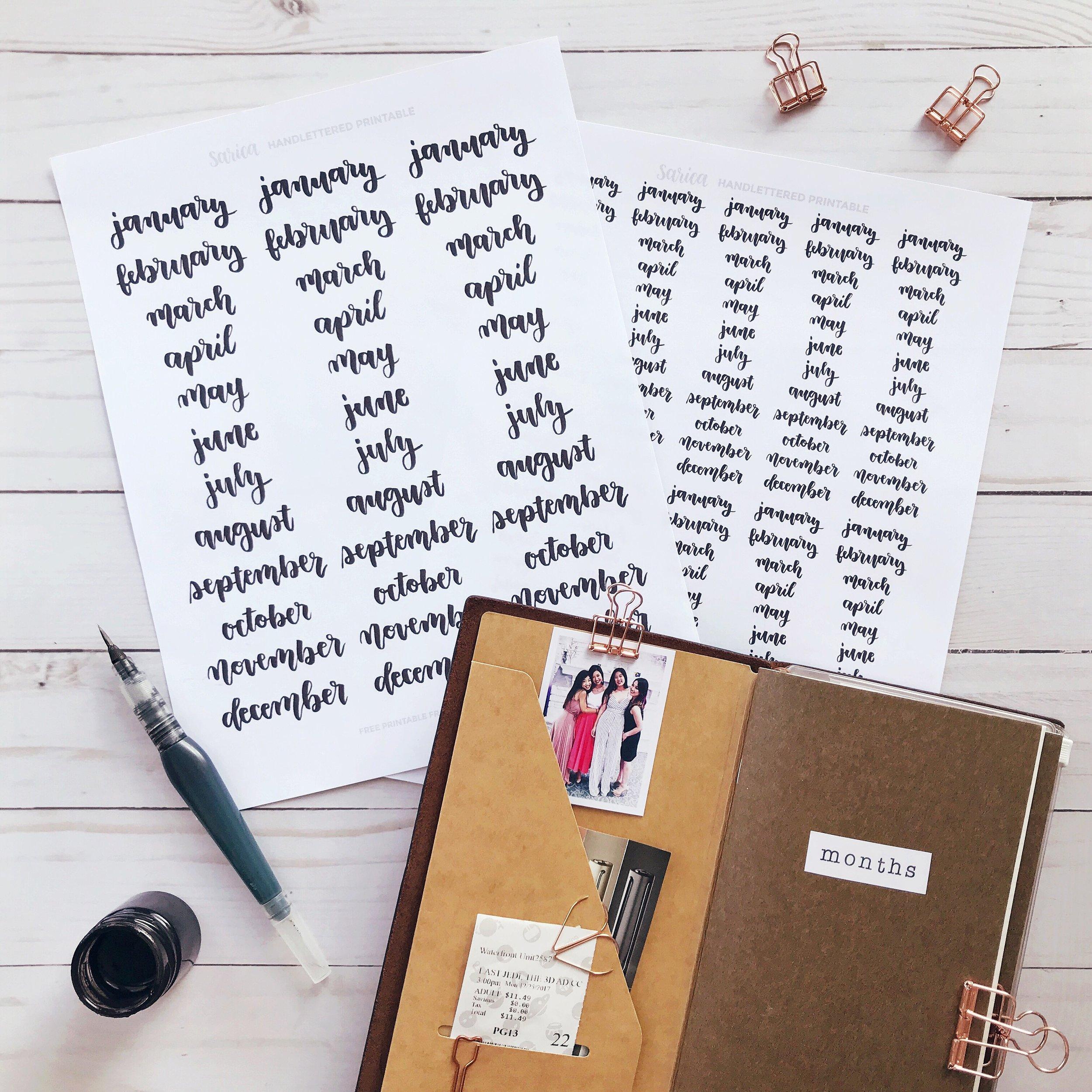 free_months_printable