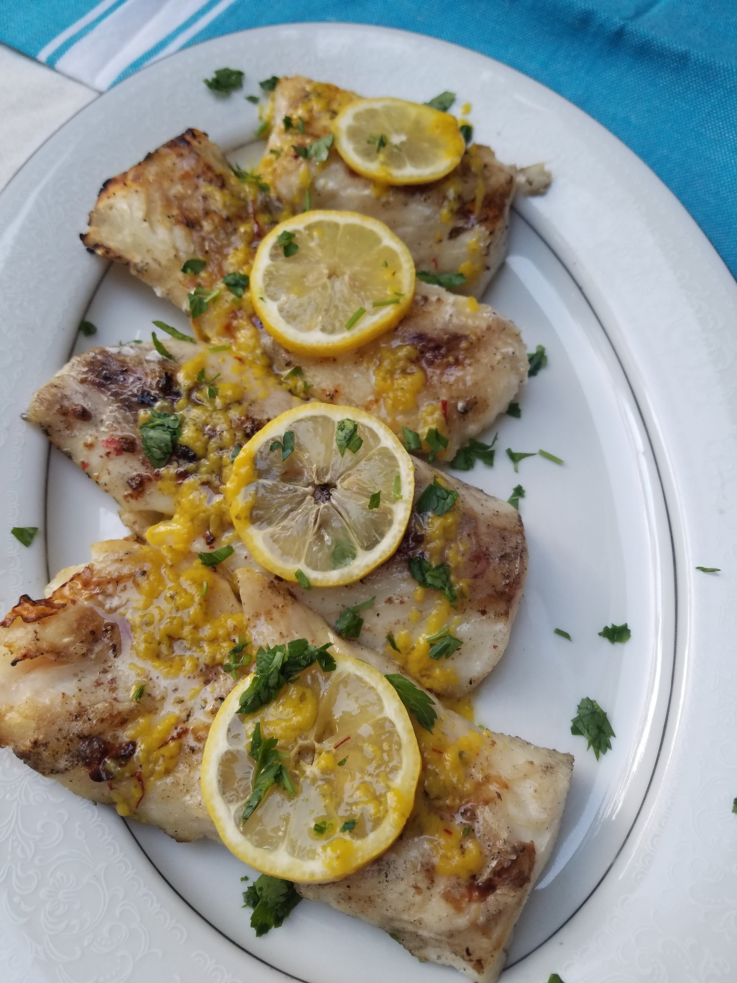 Grilled Cod with Yellow Mojo Marinade