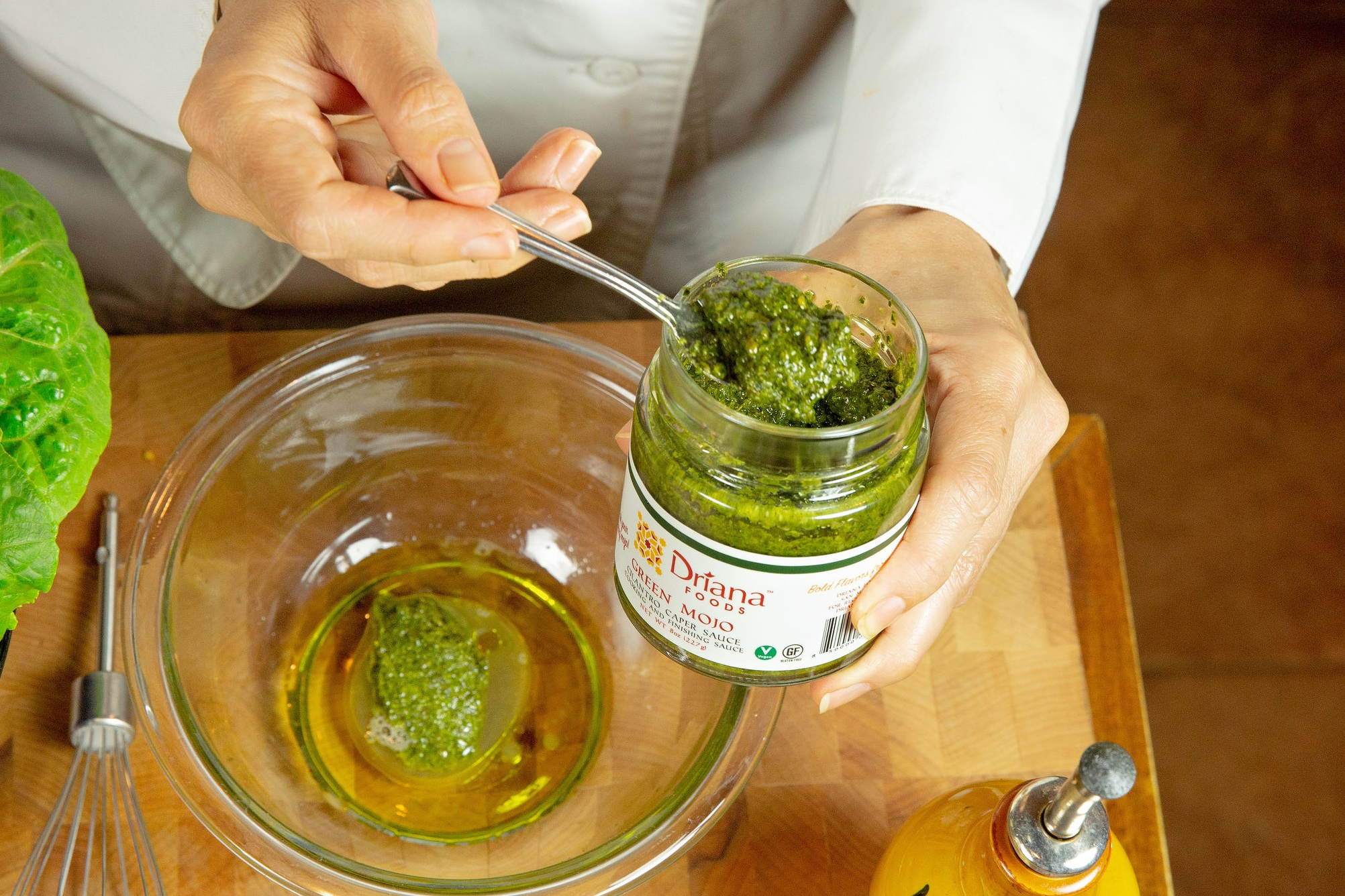 Start here: with a bowl, spoon the mojo and add your acid (citrus, vinegars) and Oil.