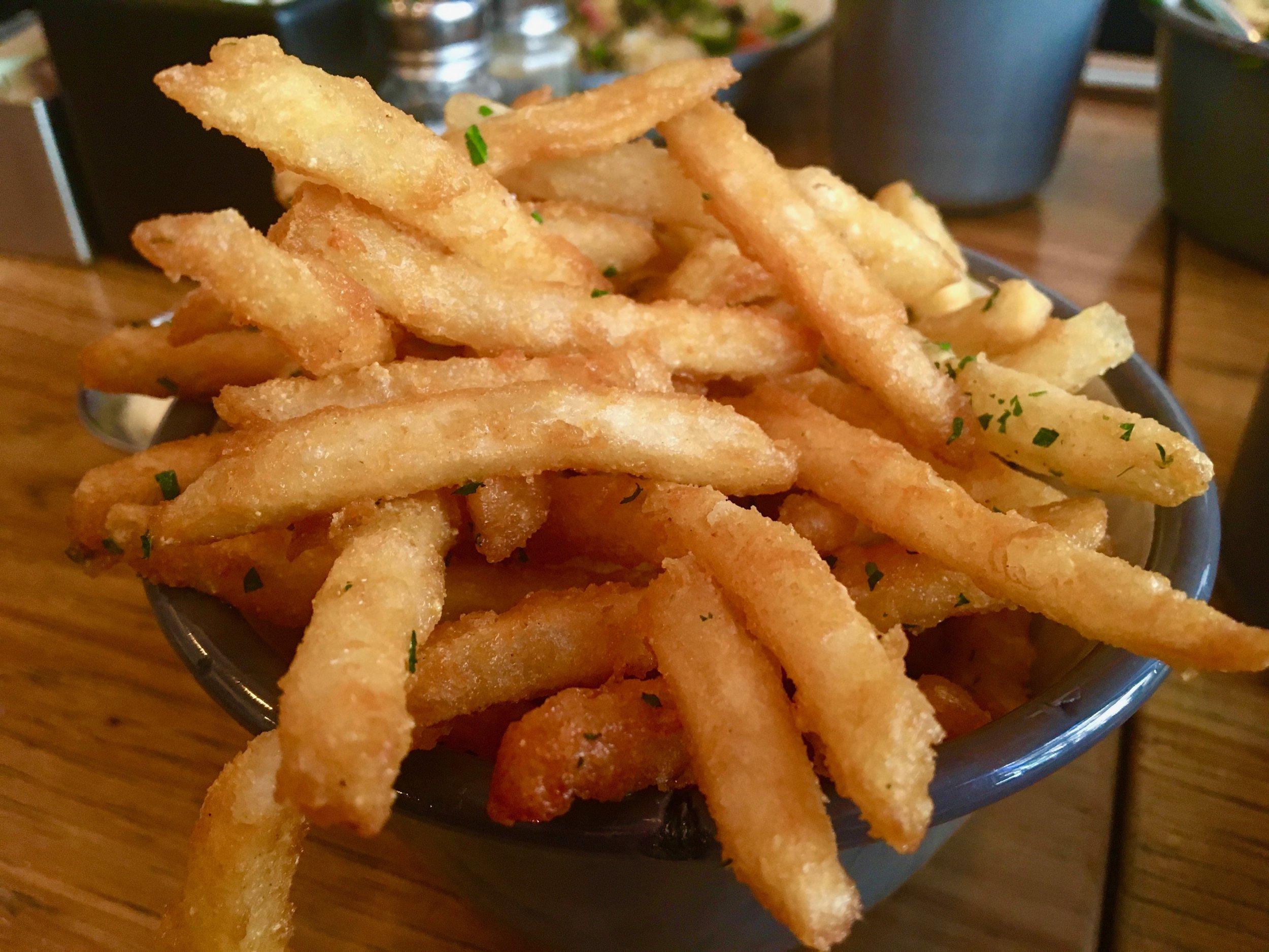 What:  Crispy   Chicken Schnitzel Salad, Crispy Rice Bowl, Lamb Ragu, & French Fries with Truffle Aioli