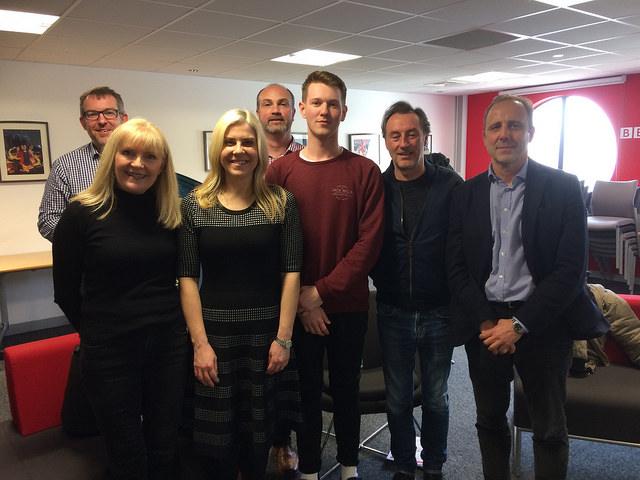 People of BBC Roath Lock Studios: Rhodri Talfan Davies (Director, BBC Cymru Wales), Cathy Shipton,(Actress, Casualty), Erika Hossington, (Series Producer, Casualty), Ben Davenport (runner on Pobol y Cwm), Llyr Morus, (Series Producer, Pobol y Cwm), Jonathan Nefydd, (Actor Pobol Y Cwm), Mark Linsey, (Director of BBC Roath Lock Studios) Picture: Andy Howells