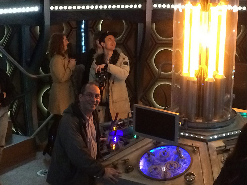 Andy Howells on the set of the TARDIS at BBC Roath Lock studios, Cardiff