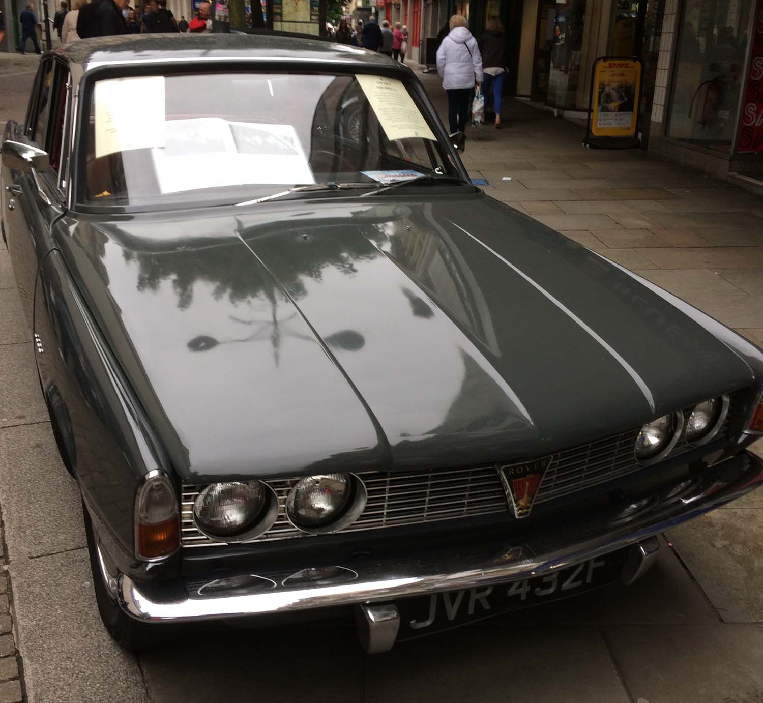 The classic Rover driven by actor Martin Shaw in the Inspector George Gently TV series takes pride of place in the Newport Festival of Classics display