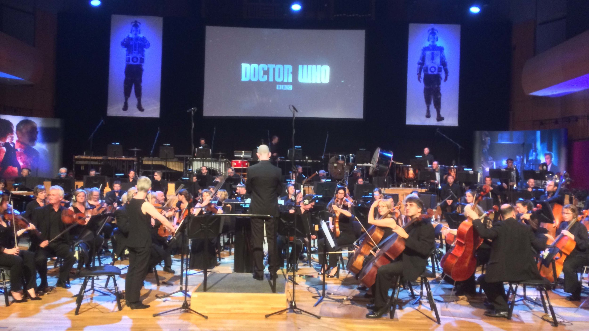 BBC National Orchestra of Wales performed live music alongside the Doctor Who episode World Enough And Time at TDoctor Who - The Finale Countdown inWales Millennium Centre's Hoddinott Hall