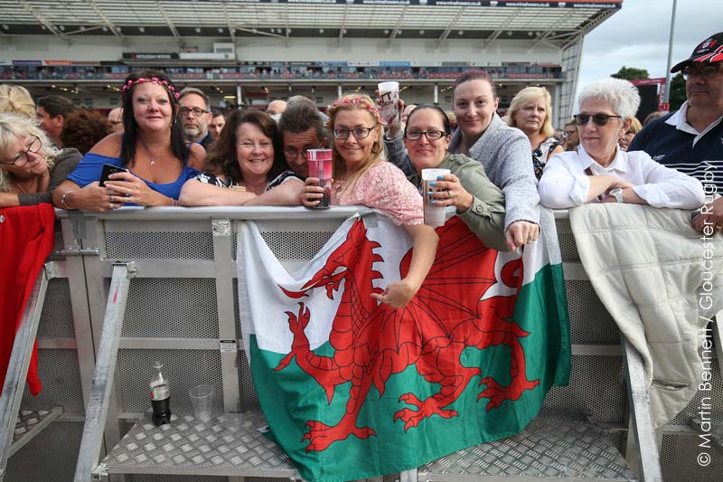 Several fans from Sir Tom's Welsh home-land came to support him at Kingsholm Stadium.