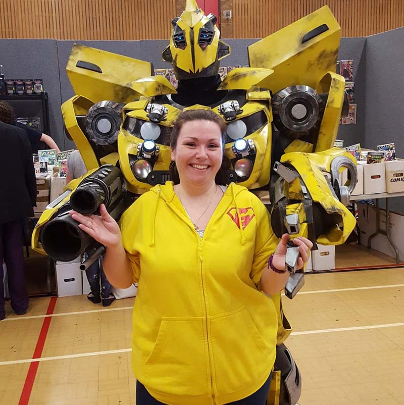 Geekedfest organiser Laura Austen pictured with Bumblebee at Geekedfest 2016