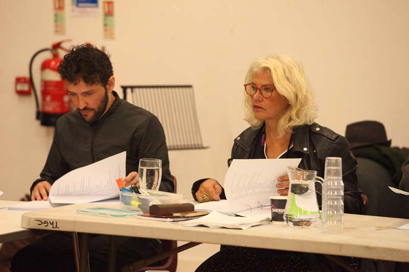 Cast rehearsing for The Cherry Orchard at Cardiff's Sherman Theatre Photo: Brian Tarr Photography