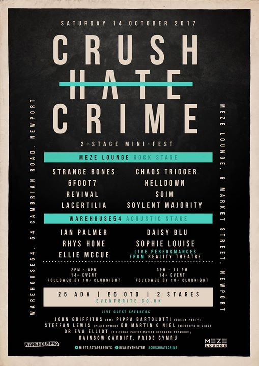 Crush Hate Crime Festival will take place across two Newport venues on October 14.