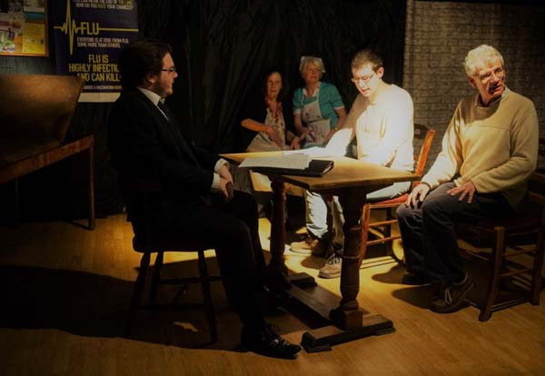 Newport's only pub-based theatre company, Reality Theatre at work on a script.